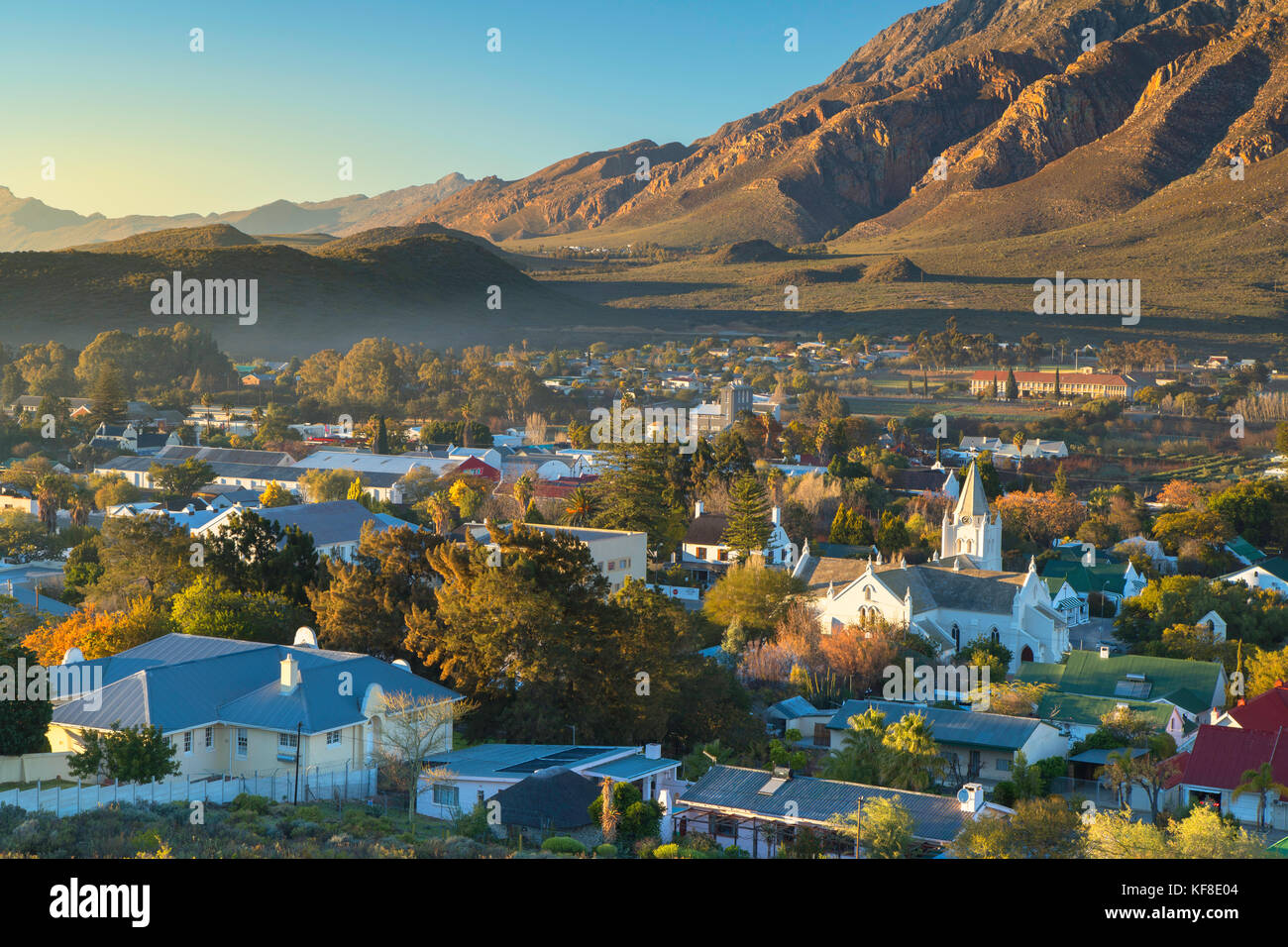View of Montagu at dawn, Western Cape, South Africa - Stock Image