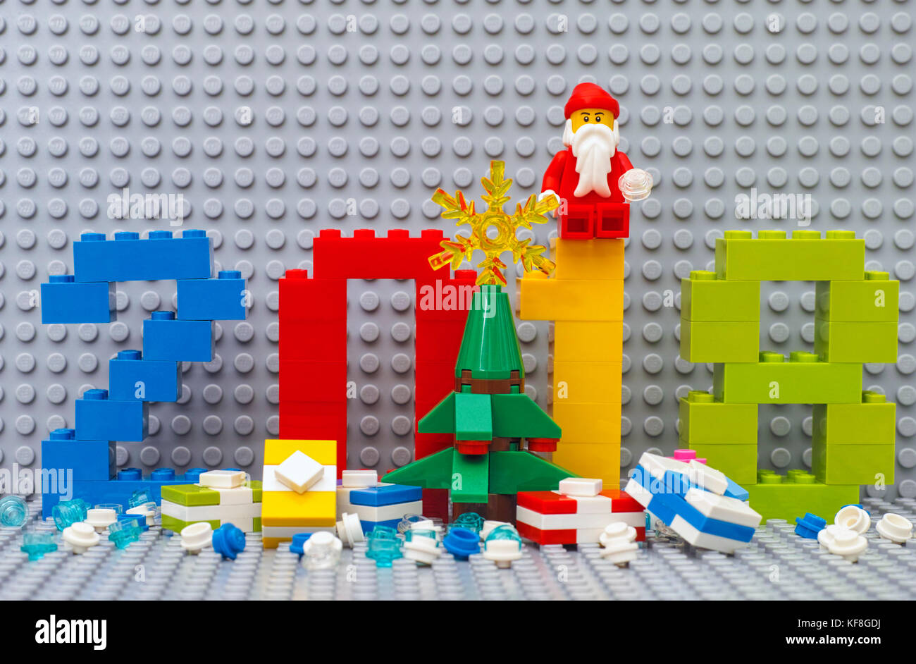 Tambov, Russian Federation - June 15, 2017  Lego New year 2018 concept. Numbers 2018, christmas tree, presents  - Stock Image