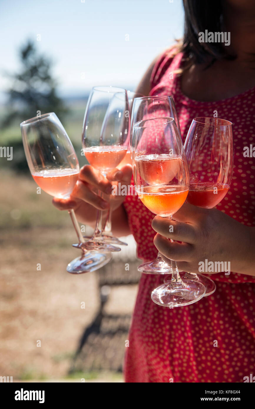 USA, Oregon, Willamette Valley, a woman serves glasses of the Brut Rose at Soter Winery, Carlton - Stock Image
