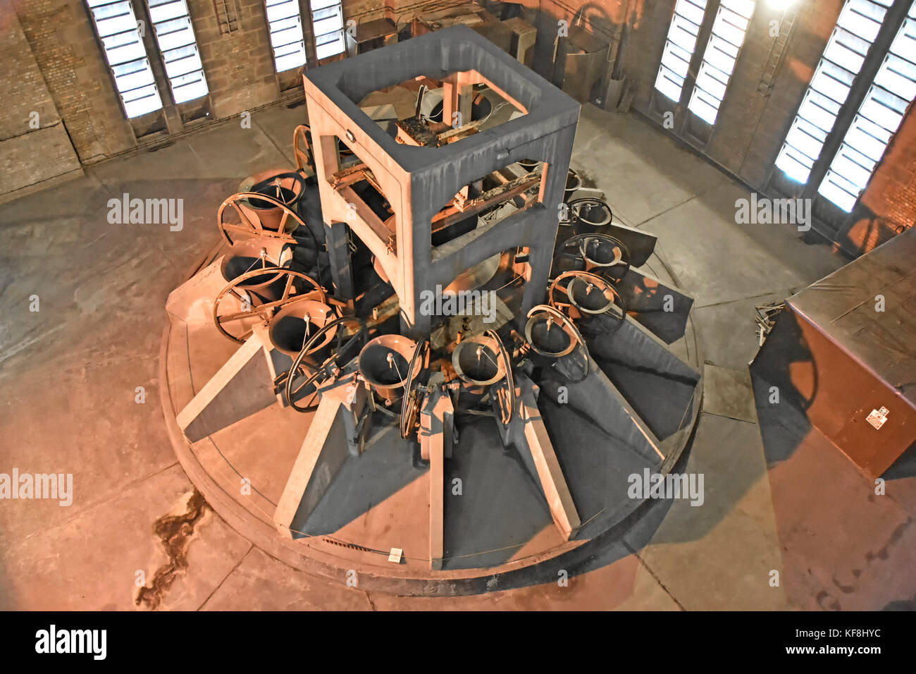 Liverpool Anglican cathedral peel of bells viewed inside floodlit bell chamber as part of the public access to viewing - Stock Image
