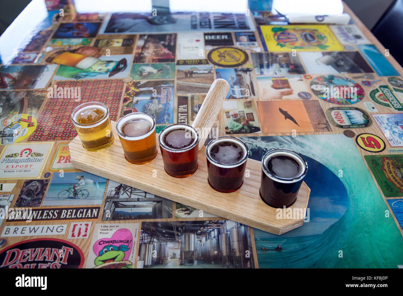 USA, Oregon, Ashland, a sample of beers brewed at the Caldera Brewery and Restaurant which includes lawnmower lager, - Stock Image