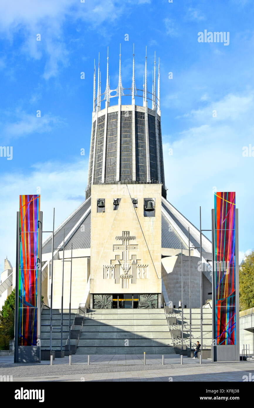 The Catholic Liverpool Metropolitan Cathedral exterior flanked by stained glass panels Merseyside England UK - Stock Image