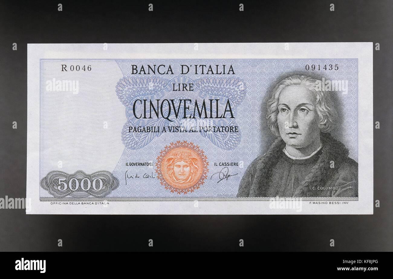 Italy 5000 Lire Coin Xx Celestine C. Colombo 1964 R - Stock Image
