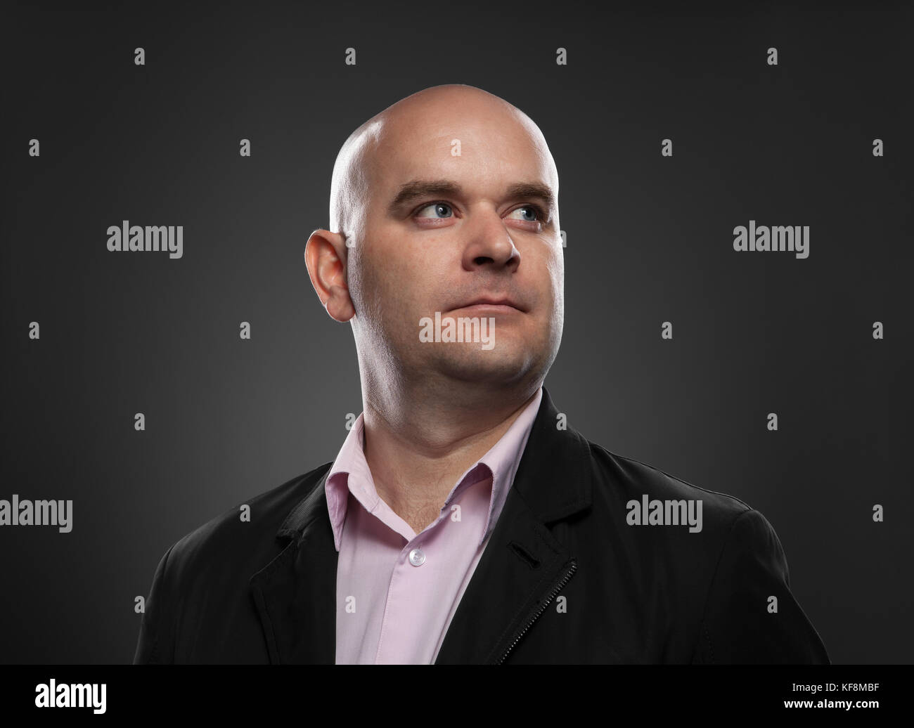 Portrait of caucasian bald man Stock Photo