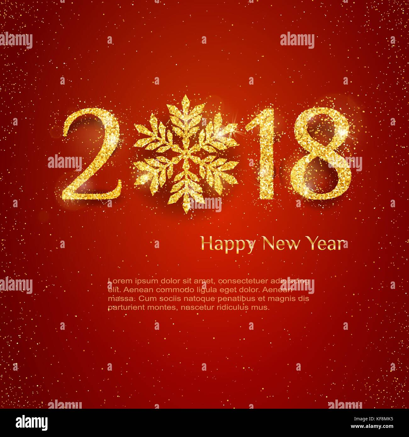 2018 happy new year background with golden glitter numbers on red background vector holiday design for your flyer banner and greeting cards