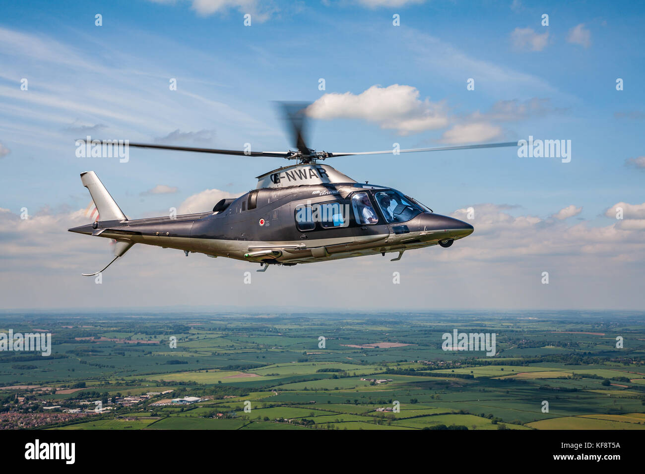 Air to Air Photographs of Helicopters shot over the Northamptonshire Countryside - Stock Image