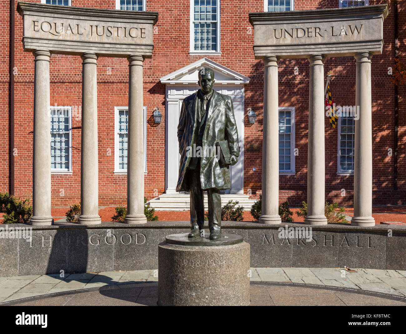 Statue of the supreme court justice Thurgood Marshall, Lawyers Mall, Annapolis, Maryland, USA - Stock Image