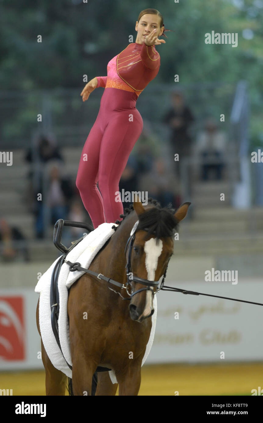Saskia van Stralen (NED) - World Equestrian Games, Aachen, - August 25, 2006, Womens Individual Vaulting Freestyle - Stock Image