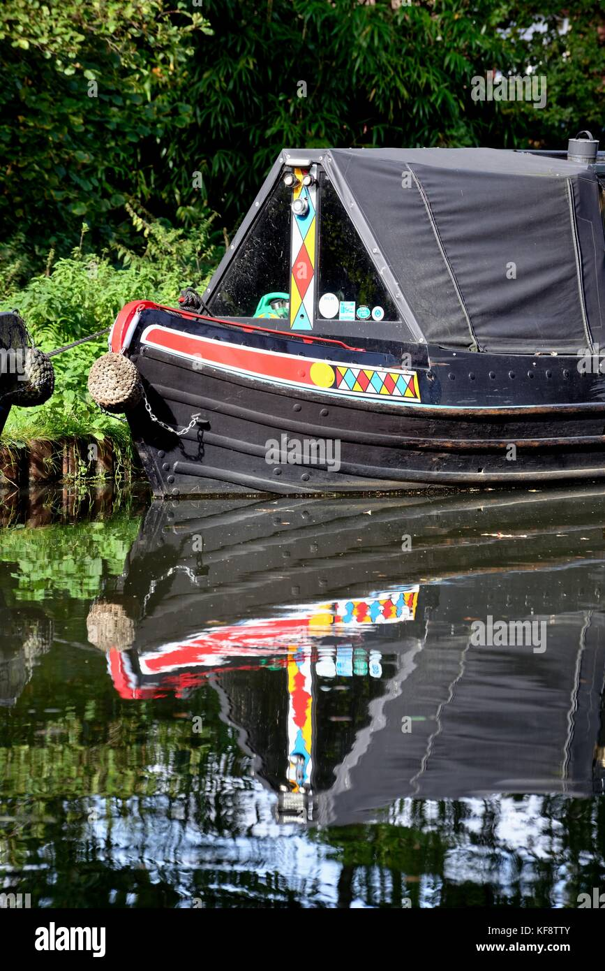 Close up of decorations on a narrow boat on the River Wey navigation New Haw Surrey UK - Stock Image