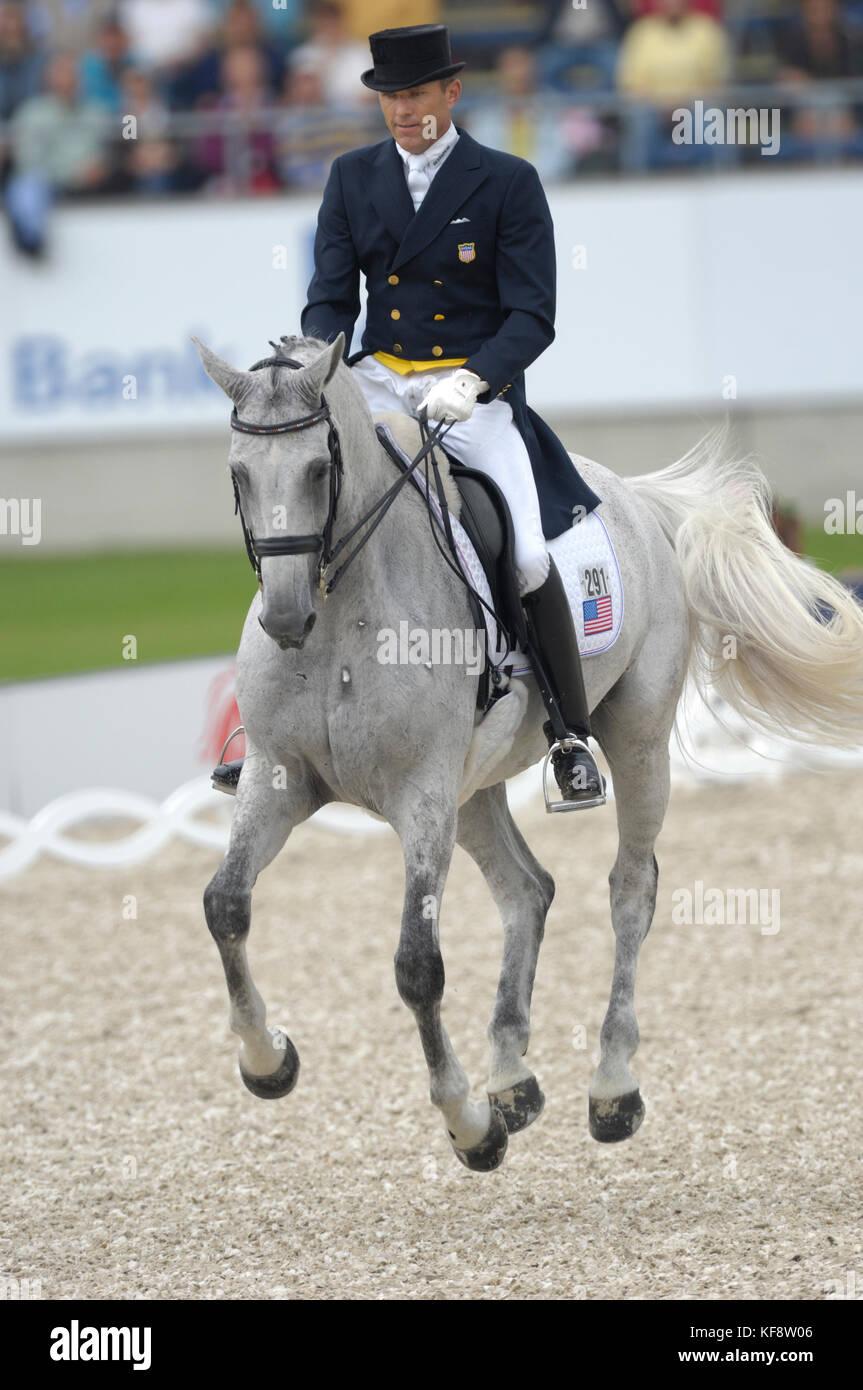 Guenter Seidel (USA) riding Aragon - World Equestrian Games, Aachen, - August 25, 2006, Grand Prix Special - Stock Image