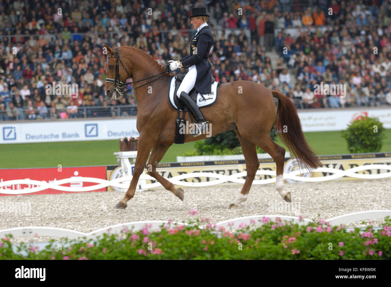 Heike Kemmer (GER) riding Bonaparte - World Equestrian Games, Aachen, - August 25, 2006, Grand Prix Special - Stock Image