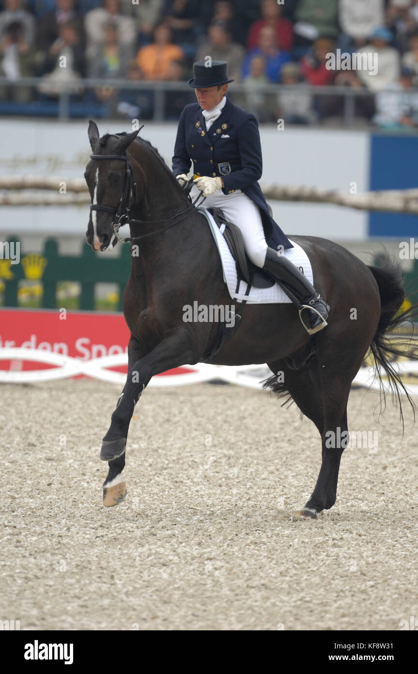 Kyra Kyrklund (FIN) riding Max - World Equestrian Games, Aachen, - August 25, 2006, Grand Prix Special - Stock Image
