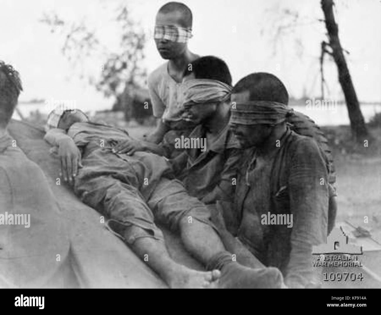 Japanese POWs captured at Brunei in 1945 - Stock Image