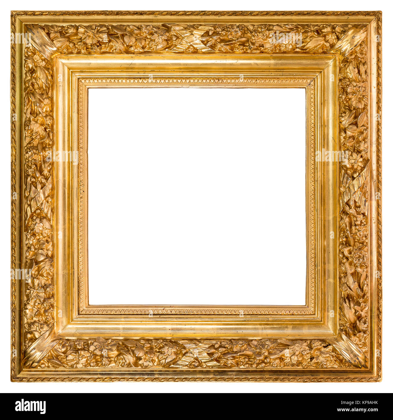 Isolated gold wood frame over white background with clipping path included. - Stock Image