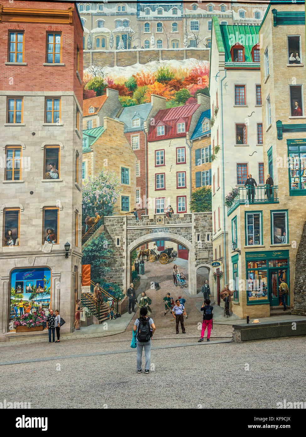 Wall mural Notre Dame street Quebec City Canada Stock Photo