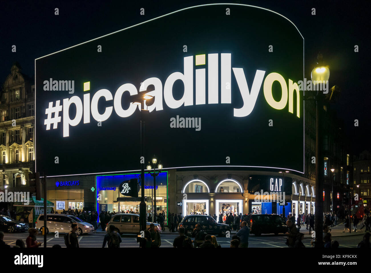 The Piccadillyon advertising screen at Piccadilly Circus in London's West End is the largest digital LED 4K - Stock Image