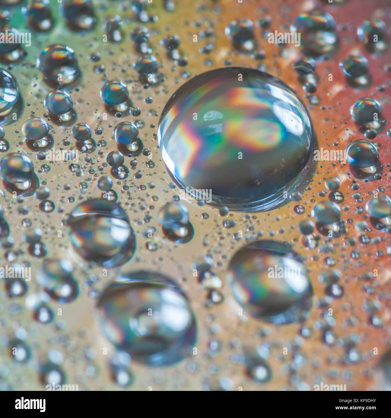 A macro shot of water droplets on the surface of a compact disc. - Stock Image