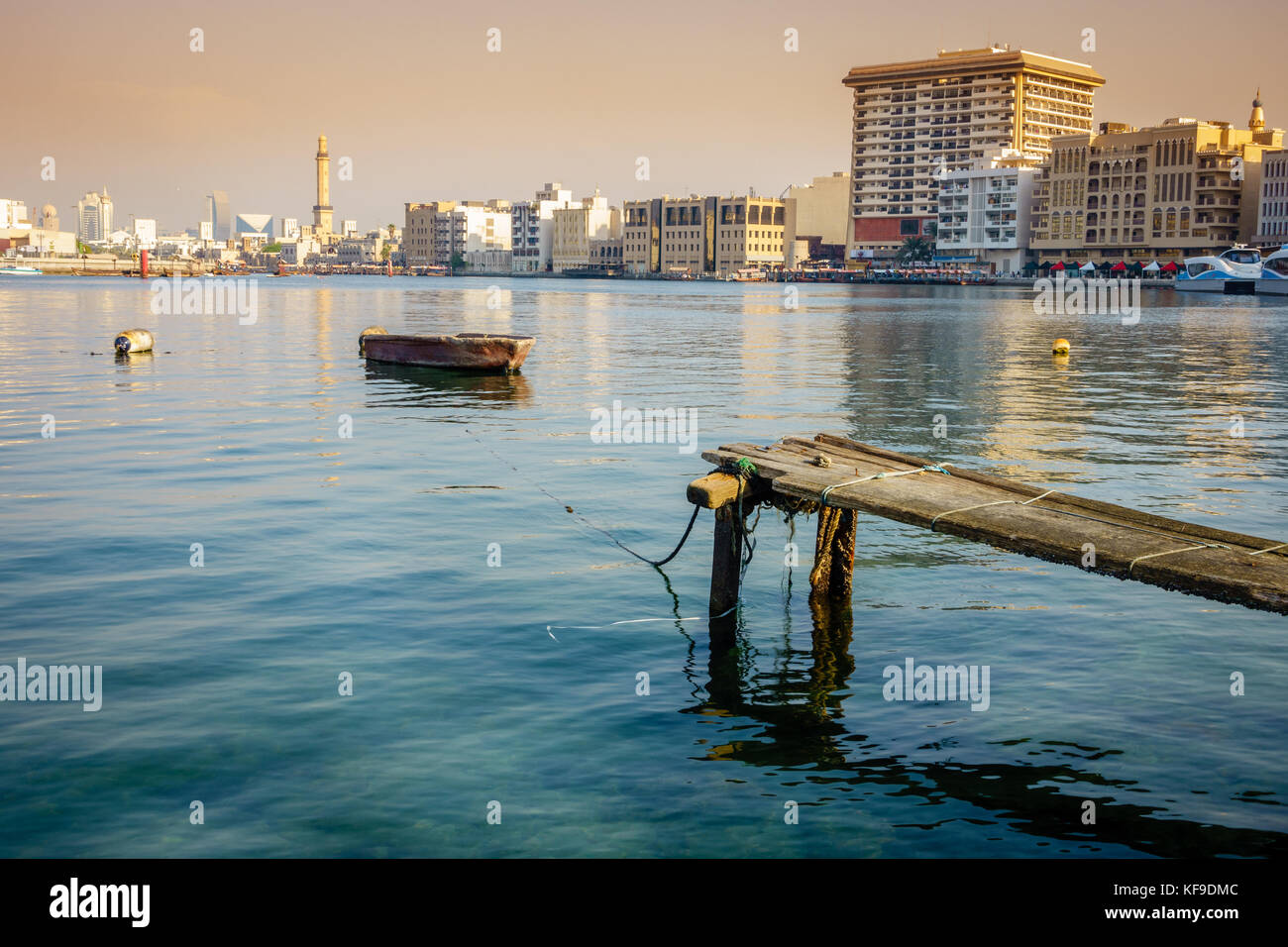 View of Dubai Creek and Deira skyline - Stock Image