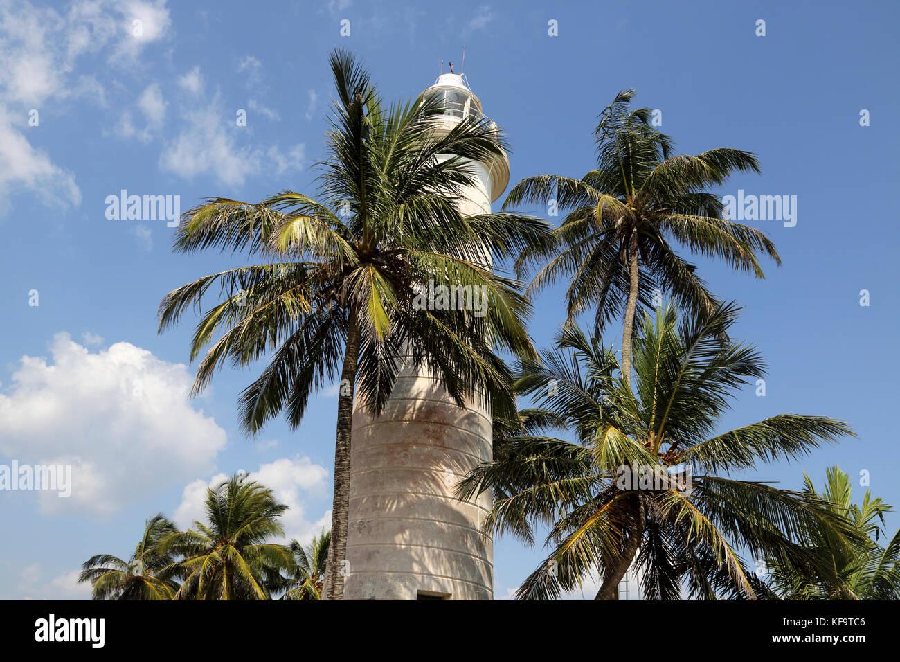 Galle Fort Galle Southern Province Sri Lanka Point Utrecht Bastion White Lighthouse - Stock Image