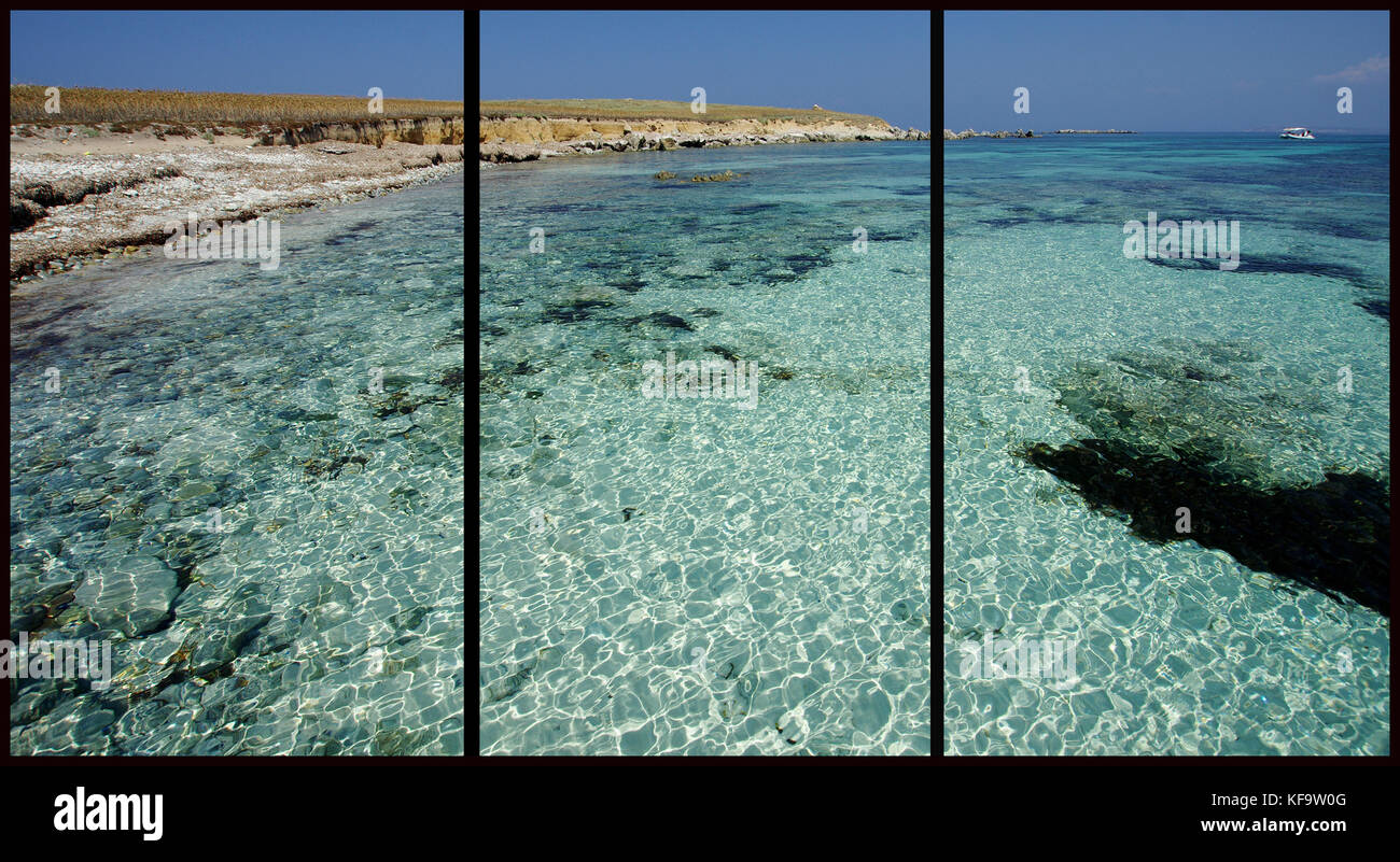 Mal di Ventre Island, Sardinia  (Triptych: picture molded into three fields for the printing of decorative panels) - Stock Image