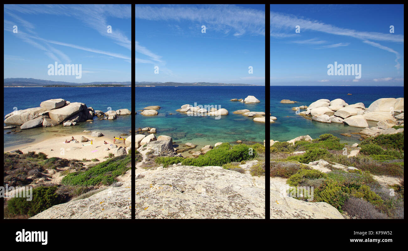 Palau, Sardinia, Talmone beach, Sardinia  (Triptych: picture molded into three fields for the printing of decorative - Stock Image