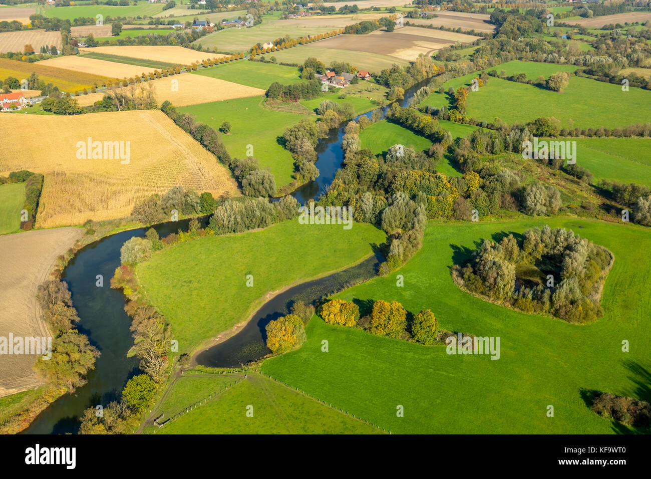 Lippe meander on the town borders between Werne and Bergkamen, lippe oxbow lake, river Lippe, nature reserve, Lippeauen, - Stock Image