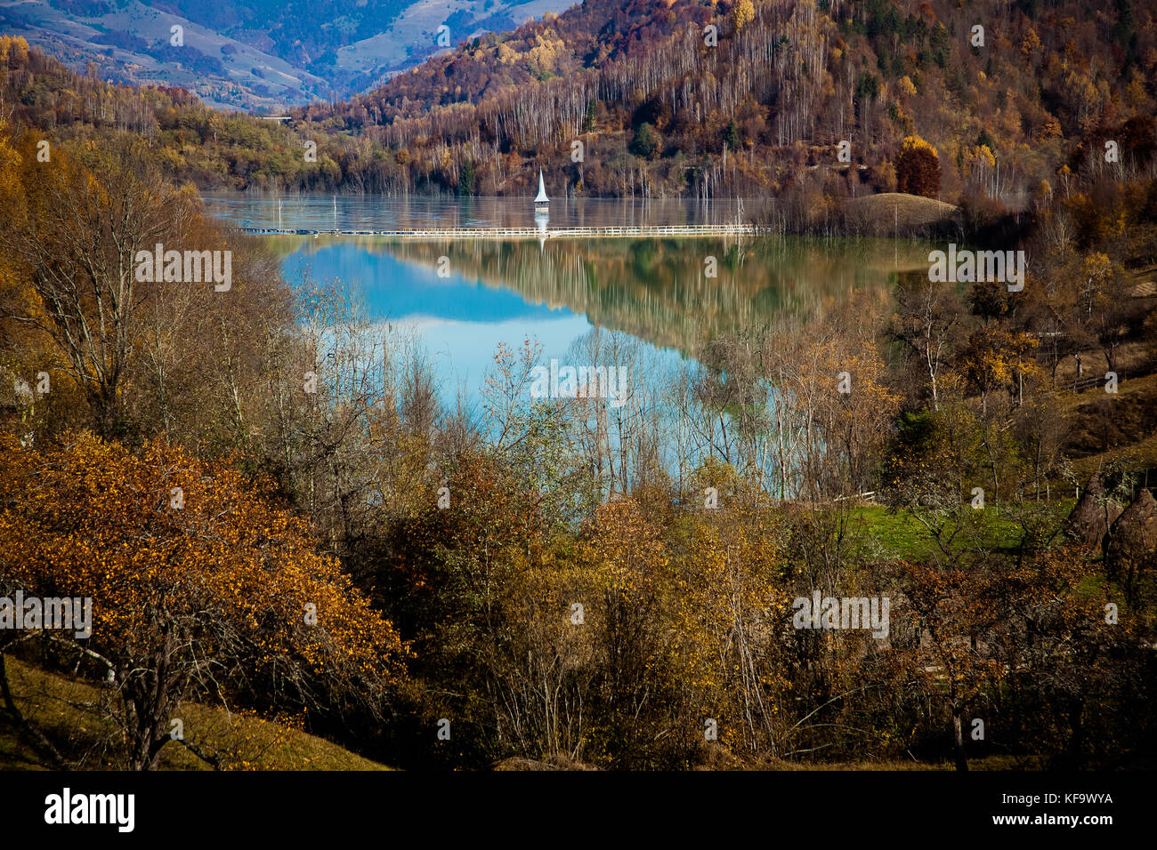 cyanide pollution at Geamana Lake near Rosia Montana, flooded village, ecological disaster - Stock Image