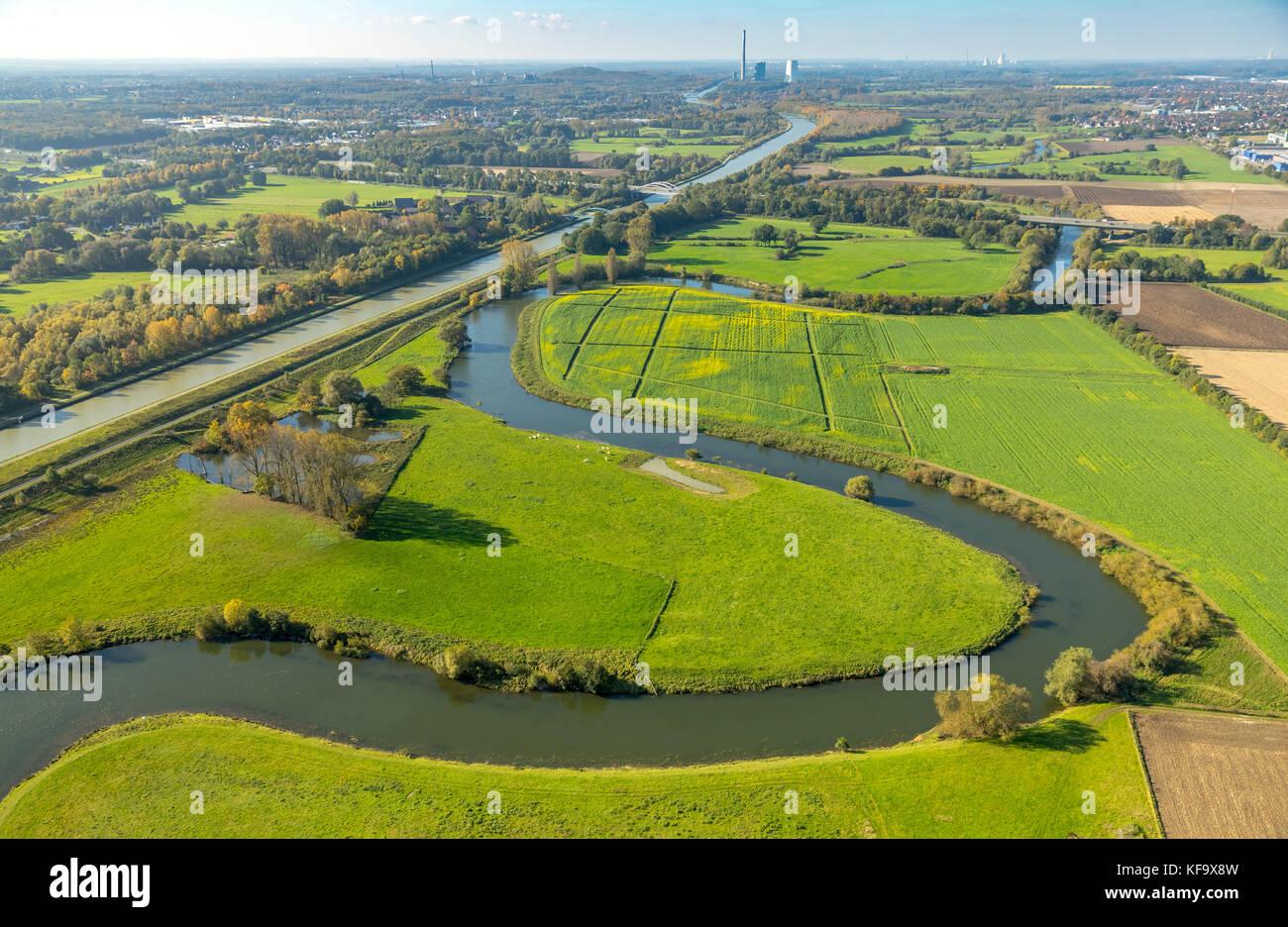 Fluß Lippe, Lippemäander auf der Stadtgrenze zwischen Werne und Hamm, Lippeauen, Wiesen, Naturschutzgebiet, - Stock Image