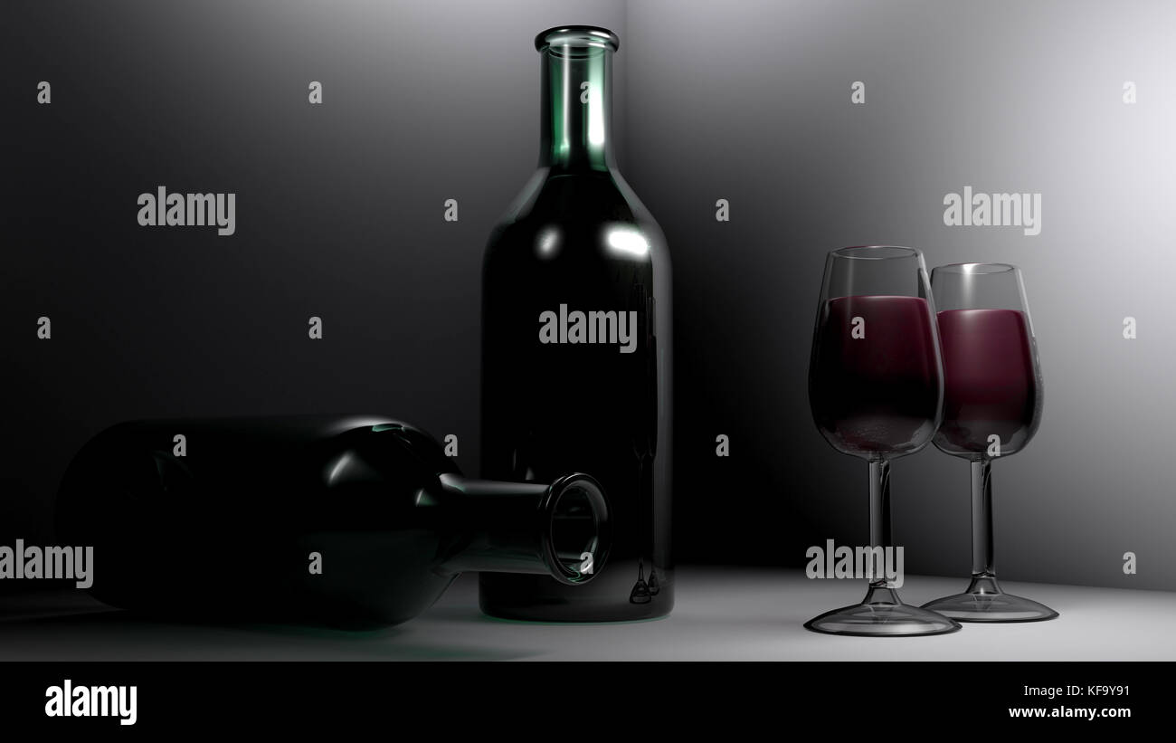 Red wine in the glasses - 3D rendering - Stock Image