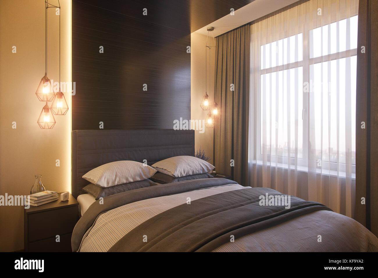 3d Illustration Of A Bedroom Interior Design In A Scandinavian Modern Stock Photo Alamy