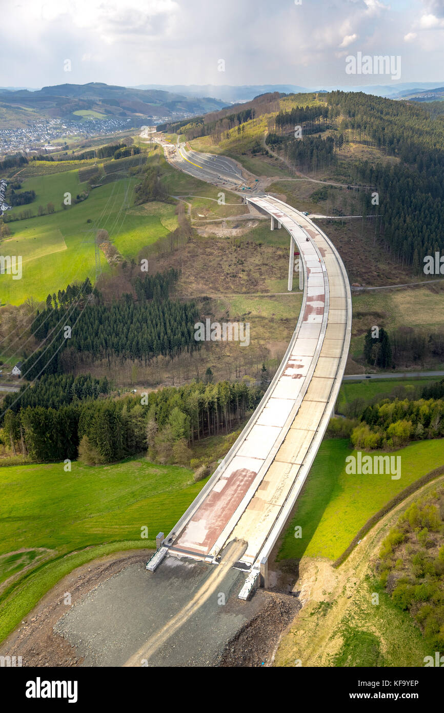Expansion of the A46 motorway with the highest bridge of North Rhine-Westphalia, Sauerland Bridge, expansion of Stock Photo