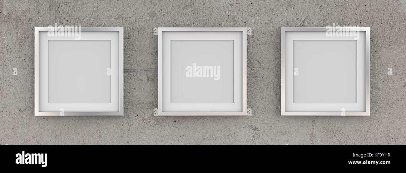 Row of 3 Square Metal Frames on rough concrete wall with white Passe-partout. Blank for Copy Space. 3D render. - Stock Image