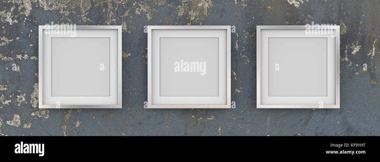 Row of 3 Square Metal Frames on Blue worn grunge wall with white Passe-partout. Blank for Copy Space. 3D render. - Stock Image
