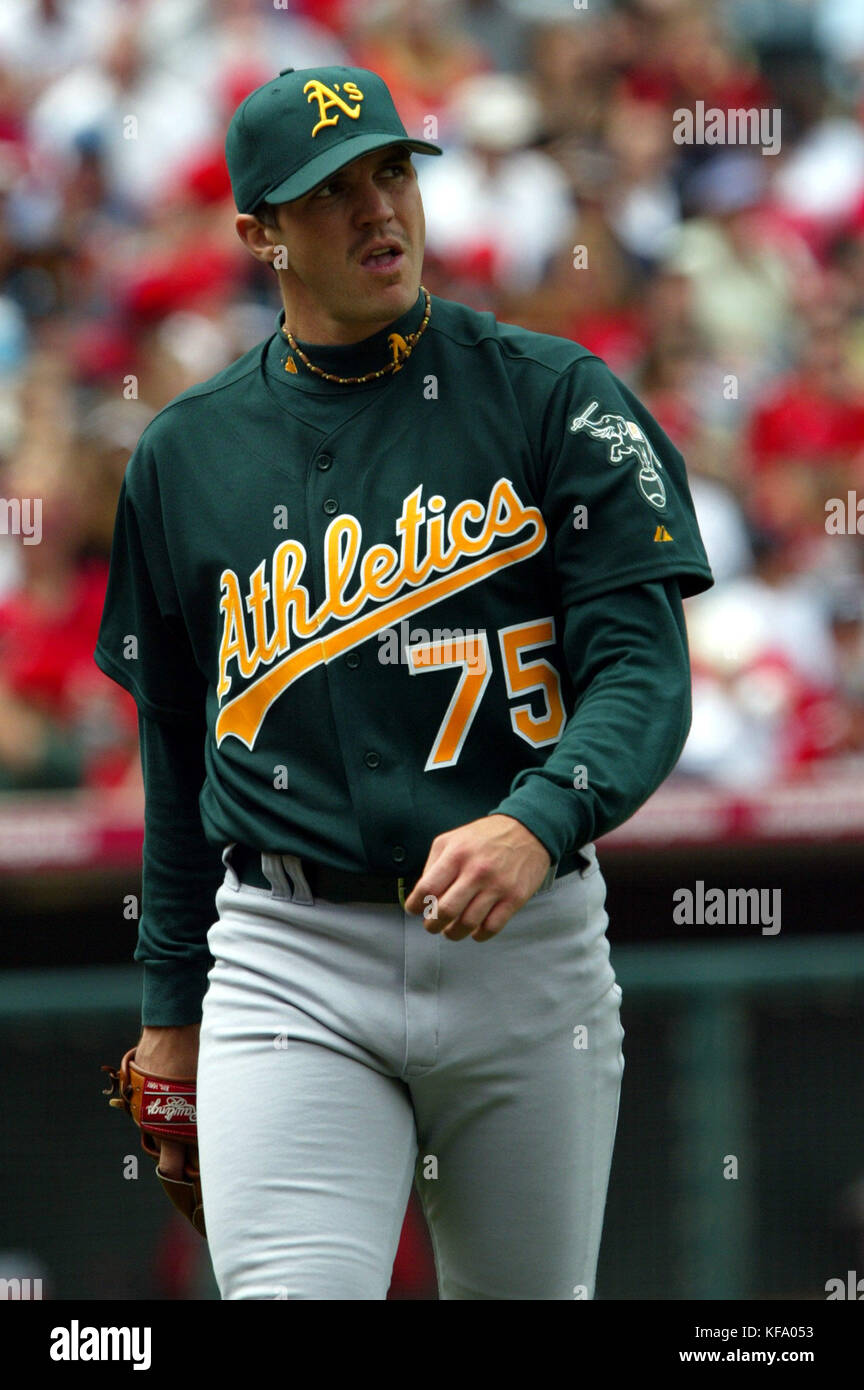 best service 645db fe460 Oakland Athletics pitcher Barry Zito looks at the scoreboard ...
