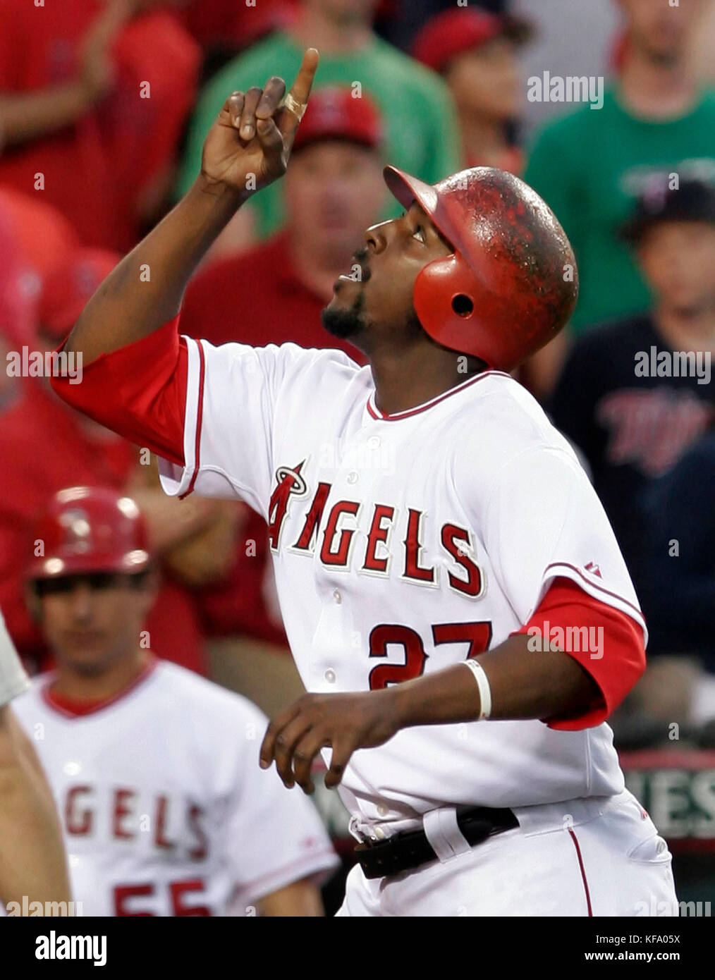 95166c528 Los Angeles Angels  Vladimir Guerrero points to the sky after hitting a  solo home run