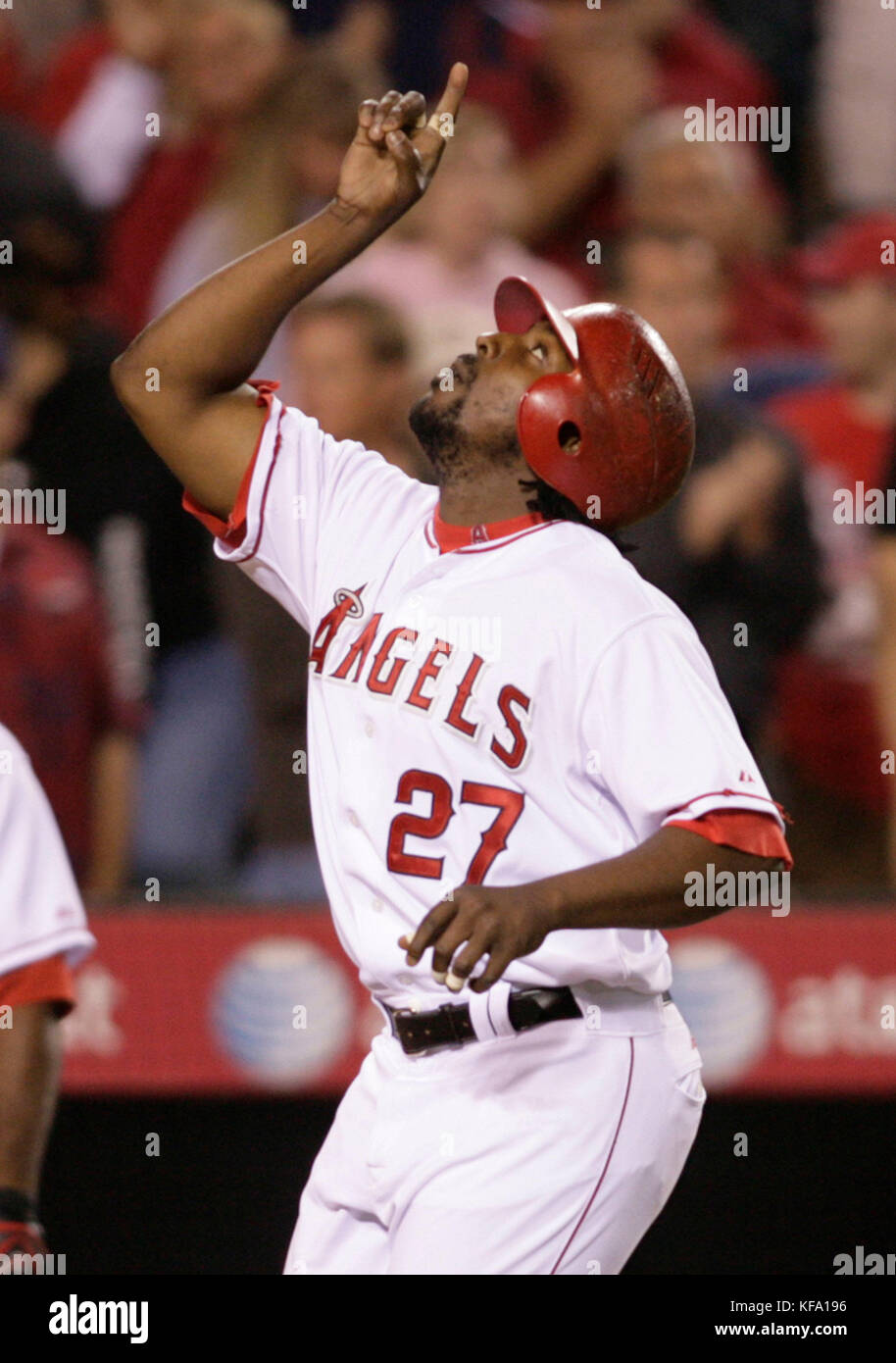 Los Angeles Angels' Vladimir Guerrero points to the sky while crossing home after hitting a two-run homer off  Tampa Bay Rays pitcher James Shields during the fifth inning of a baseball game in Anaheim, Calif. on Tuesday, June 10, 2008. Photo by Francis Specker Stock Photo