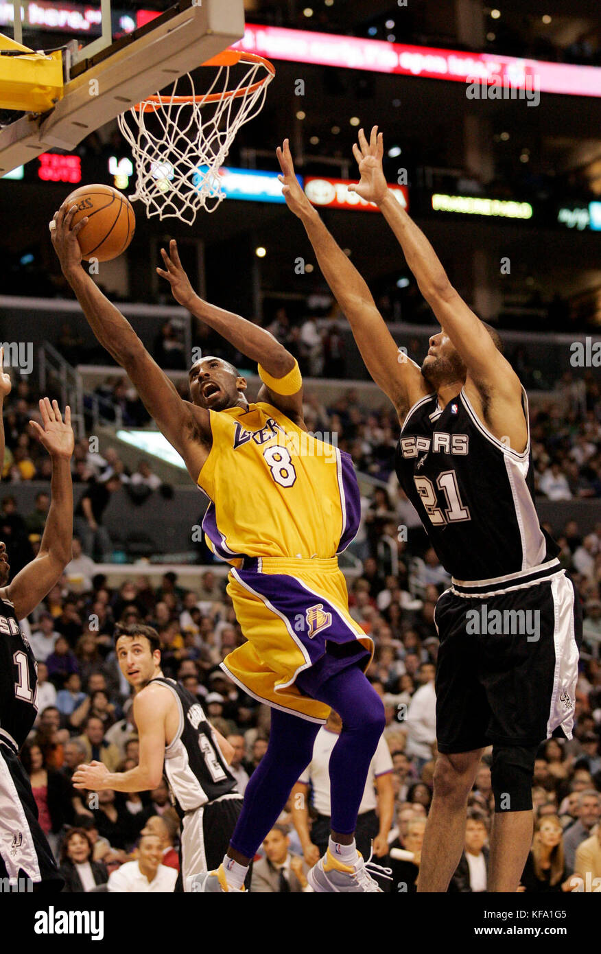 9e3cefb34 Los Angeles Lakers  Kobe Bryant (8) lays the ball in over San Antonio Spurs   Tim Duncan