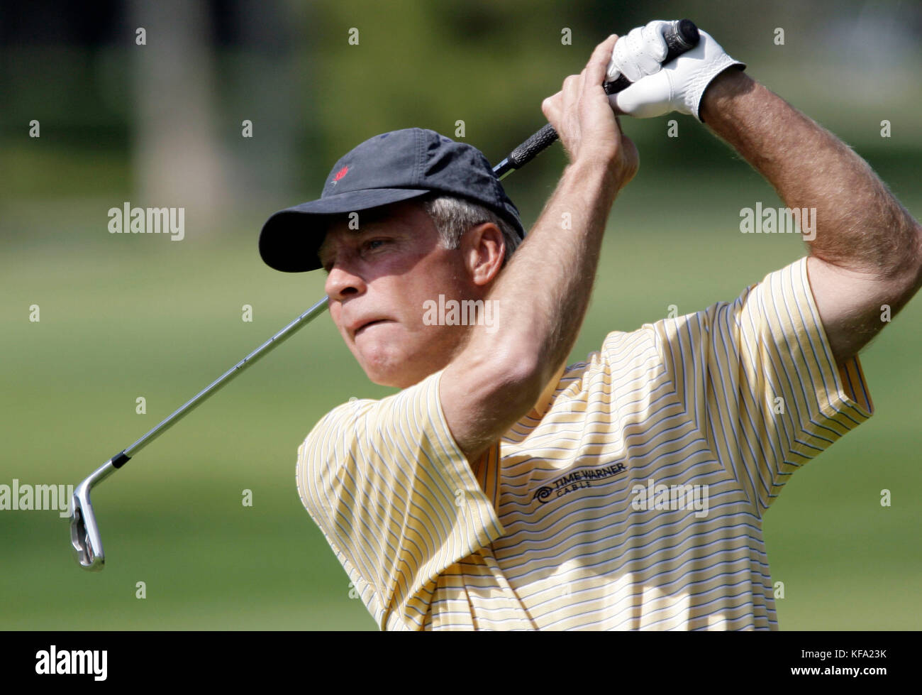 Ben Crenshaw watches his shot from the fifth fairway during the second round of the Champions Tour's Toshiba - Stock Image