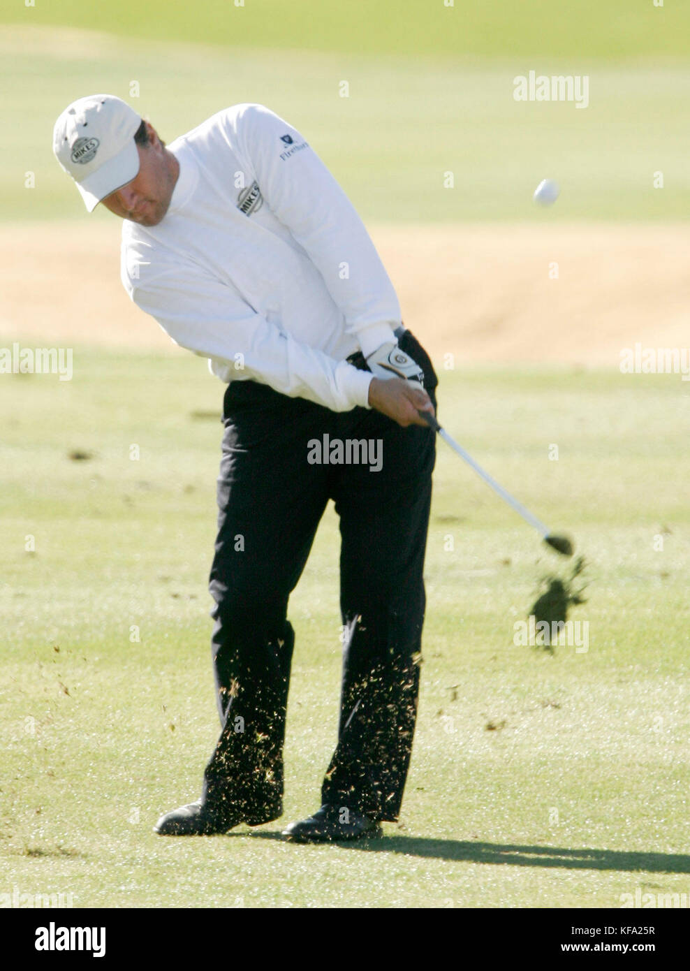 Golfer Carl Desjardins hits the ball off the  fairway of the 5th hole on the Nicklaus Course at  PGA West  in La - Stock Image