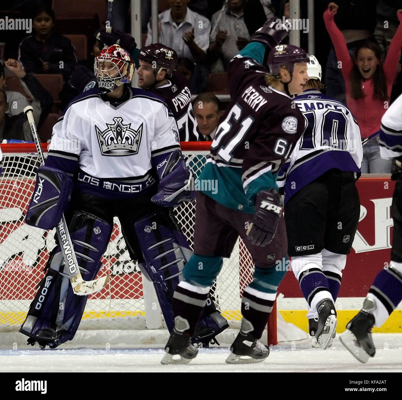 Anaheim Mighty Ducks' Corey Perry (61) celebrates a goal by teammate Andy McDonald against Los Angeles Kings - Stock Image