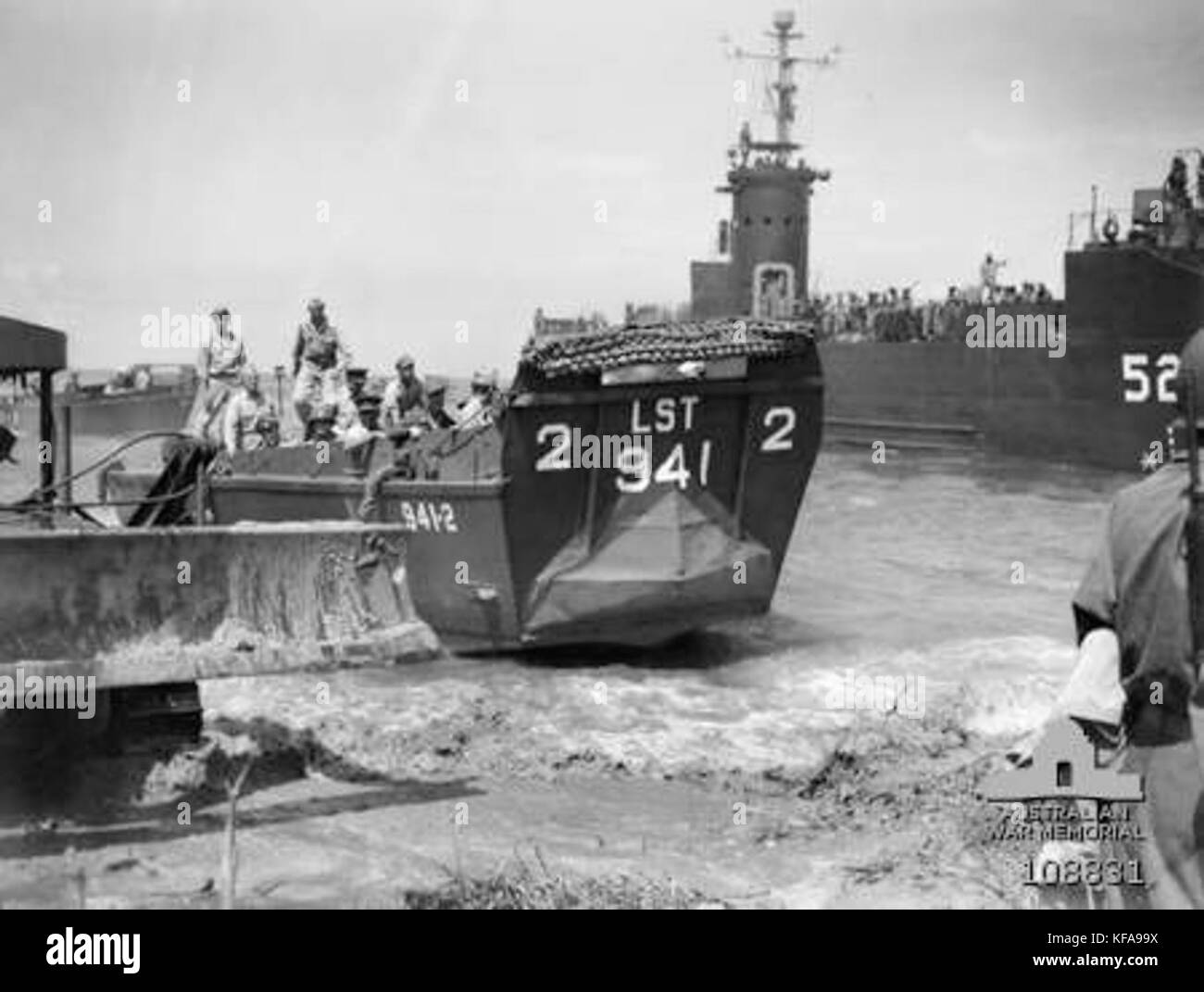 LCVP2 from USS LST 941 Brunei Bay 10 June 1945 - Stock Image