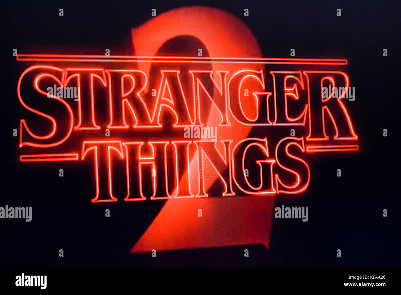 LONDON, UK - OCTOBER 26th 2017: Stranger things title logo photographed on a computer screen. - Stock Image
