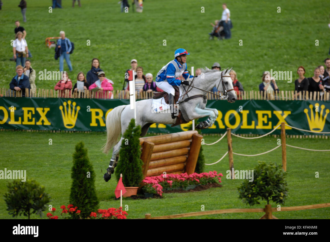 Karin Florent Laghouag (FRA) riding Make My Day - World Equestrian Games, Aachen, - August 26, 2006, Eventing Cross - Stock Image