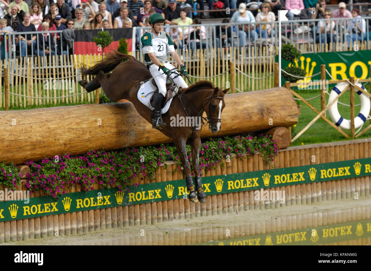 Niall Griffin (IRE) riding Lorgaine - World Equestrian Games, Aachen, - August 26, 2006, Eventing Cross Country - Stock Image