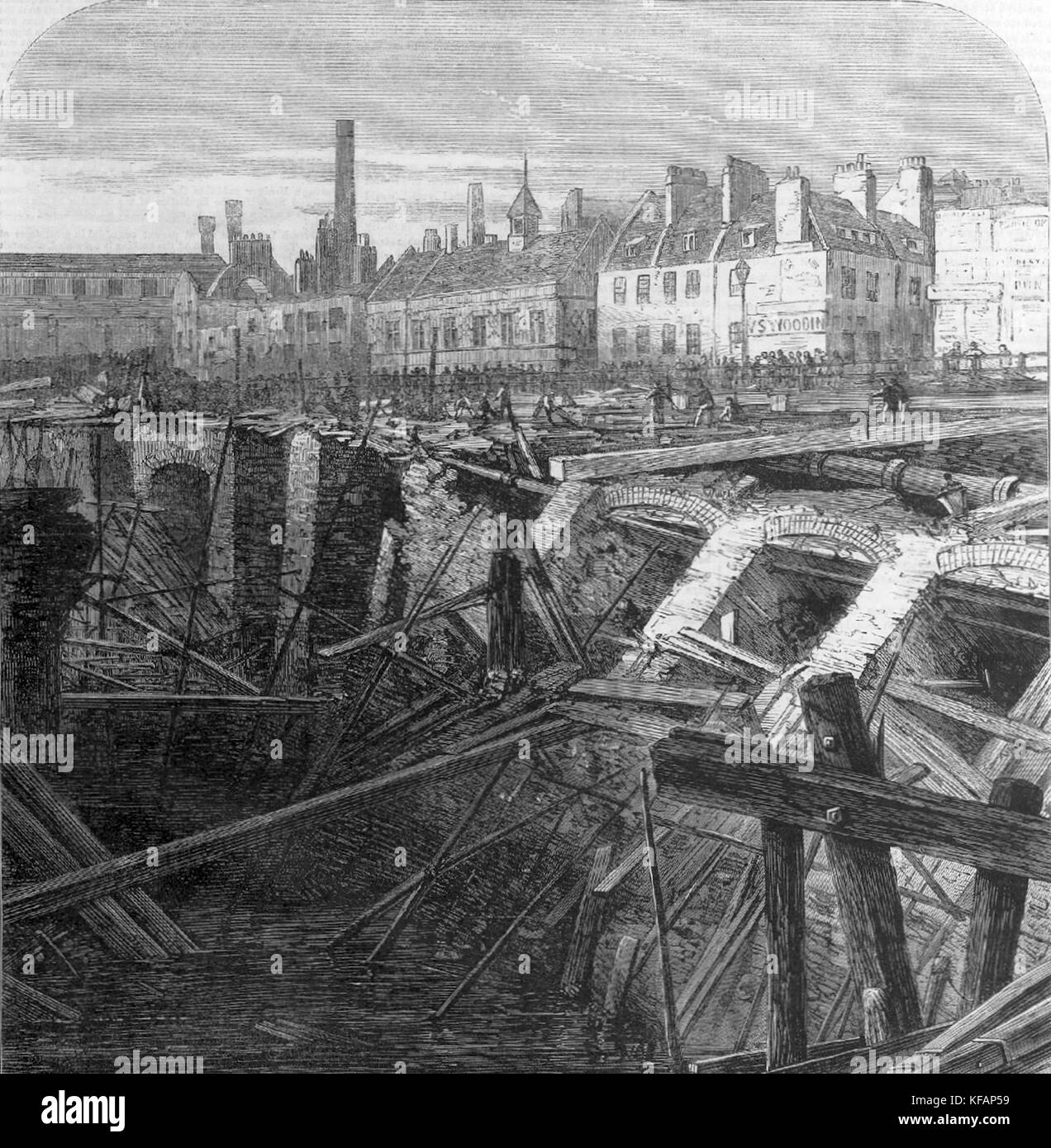 Damage caused by the collapse of the Fleet ditch into the cutting of the Metropolitan Railway near Farringdon station - Stock Image