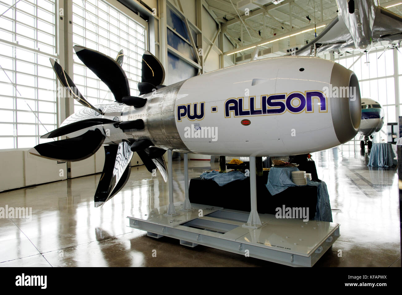 Pratt & Whitney / Allison 578-DX UDF with large propeller blades on display - Stock Image