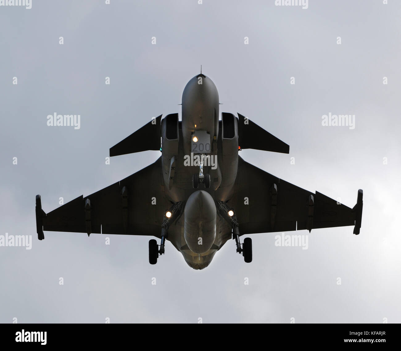 Swedish Air Force Saab JAS-39A Gripen on final-approach to Fairford - Stock Image