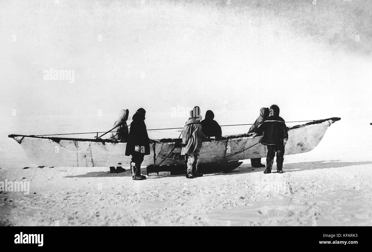 Six Eskimos Standing Beside Native Skinboat Umiak On Sled Point Barrow Alaska