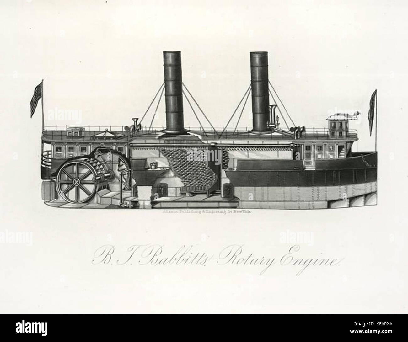B. T. Babbitt's Rotary Engine for steam ship transportation - Stock Image
