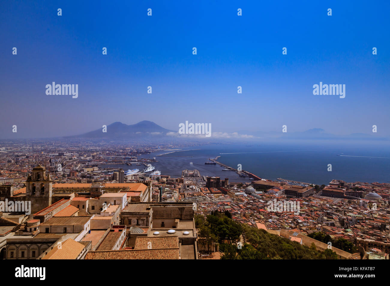 View of the City and Mount Vesuvius from Castel Sant'Elmo, Naples, Italy - Stock Image